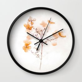 Beautiful Whimsical Orange Blossom Plant Trapped in Crystal Ice Bubble Winter Chram Photo Wall Clock