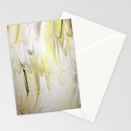 Golden Yellow Feather Water Marbling Stationery Cards