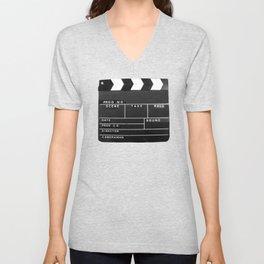 Film Movie Video production Clapper board Unisex V-Neck