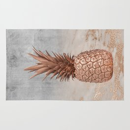 Pineapple in Glitter Marble Rose Gold And Concrete Rug
