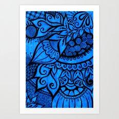Tangle on blue Art Print