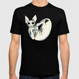 Playful Sphynx Kitty - Curled Up Nude Cat - Wrinkly Nude Cat - Blue T-shirt