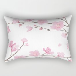 Square- Cherry Blossom - Transparent Background Rectangular Pillow