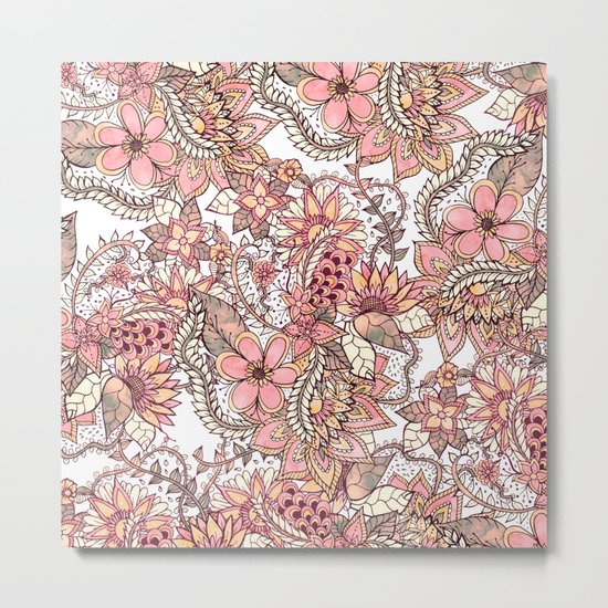 Boho chic red brown floral hand drawn pattern Metal Print