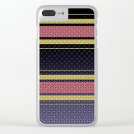 Black, blue, yellow, pink stripes . Clear iPhone Case