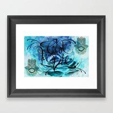 Turquoise Hamsa Framed Art Print