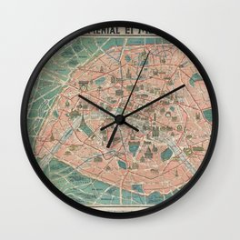 Vintage Paris Map France Wall Clock