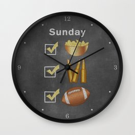Funny Sunday Checklist Chips Beer Football Wall Clock