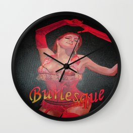Burlesque Dancer Wearing Vintage Red Corset and Gloves  Wall Clock