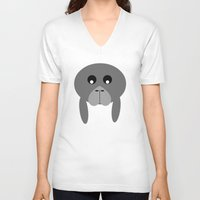 manatee V-neck T-shirts featuring Fat Manatee by Bunhugger Design