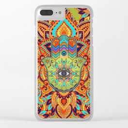 Colorful  Hamsa Hand -  Hand of Fatima Clear iPhone Case