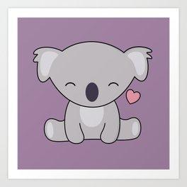 Kawaii Cute Koala Bear With Heart Art Print