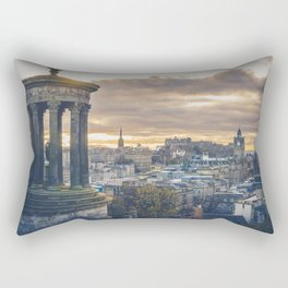 Edinburgh city and castle from Calton hill and Stewart monument Rectangular Pillow