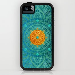 """Turquoise and Gold Mandala"" iPhone Case"