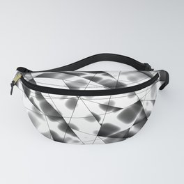 Exclusive deep mosaic monochrome pattern of chaotic black and white glass fragments, metal, glare. Fanny Pack