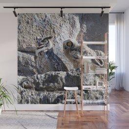 Watercolor Bird, Great Horned Owl 02, Estes Park, Colorado, The Fledgling Wall Mural
