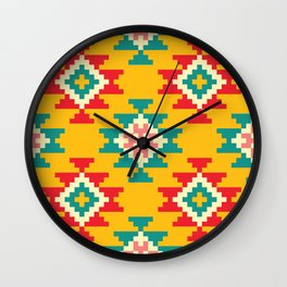 Bold and Vibrant Native Inspired Pattern on Yellow Wall Clock