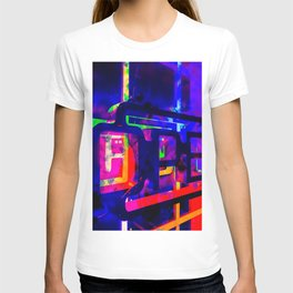 OPEN neon sign with pink purple red and blue painting abstract background T-shirt