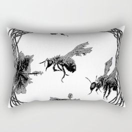 Hibiscus and Bees (frozen) 01 Rectangular Pillow
