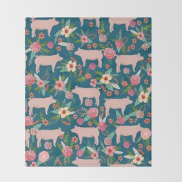 Pig florals farm homesteader pigs cute farms animals floral gifts Throw Blanket