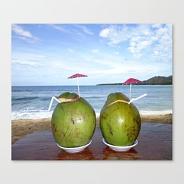 Fresh Coconut Juice by the Beach Canvas Print