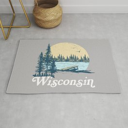 Vintage Wisconsin Dock on a Lake Rug
