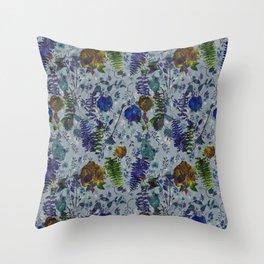 Bleu Foliage Throw Pillow