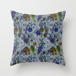 Bleu Foliage Throw Pillow
