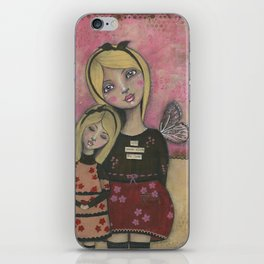 With Brave Wings She Flies, Whimsy Folk Art Painting iPhone Skin