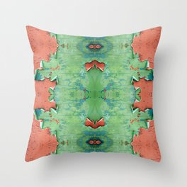 Green brown old cracked paint wall Throw Pillow