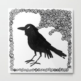 Single Crow Metal Print
