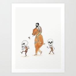 Bearded Man, Bearsuit, Skullguys Art Print