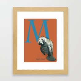 M is for Manatee: Under Appreciated Animals™ ABC nursery decor sea life red unusual animals Framed Art Print