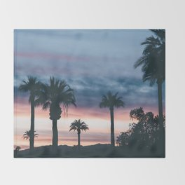 Palm Tree Sky Sunset Throw Blanket