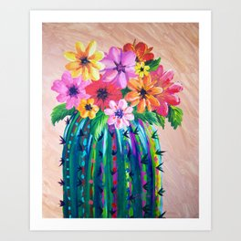Colorful Cactus with Flowers, Desert Motif Art Print
