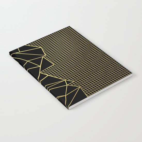 Abstract Outline Grid Gold Notebook