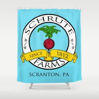 dwight Shower Curtains featuring Schrute Farms | The Office - Dwight Schrute by Silvio Ledbetter