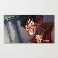 luffy Canvas Prints featuring Luffy  by DustyLeaves