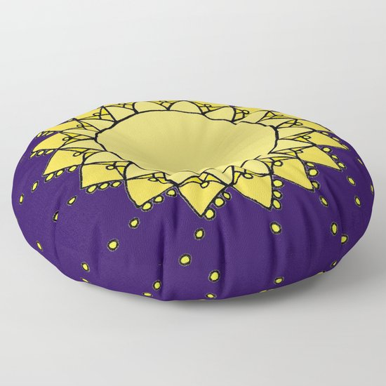 Celestial Swirling Sun Boho Mandala Hand-drawn Illustration Floor Pillow