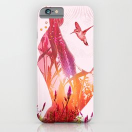 Multiple exposure of hummingbird and flowers iPhone Case