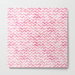 Pink White Watercolor Chevron Stripes Metal Print