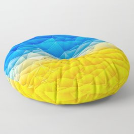 Sunshine and Blue Sky Quilted Abstract Floor Pillow