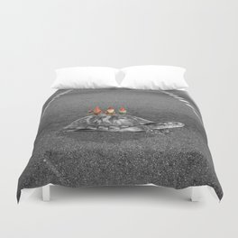 gnomes on a turtle Duvet Cover