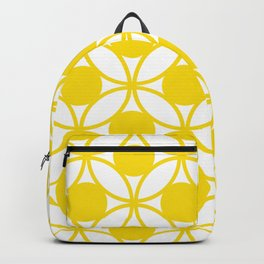 Geometric Floral Circles Summer Sun Shine Bright Yellow Backpack