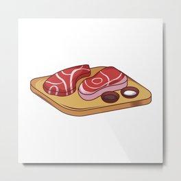 Steaks on Wood Board Metal Print