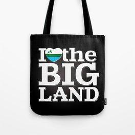 I Heart the Big Land (on black gradient) Tote Bag