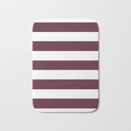 Light chocolate cosmos - solid color - white stripes pattern Bath Mat