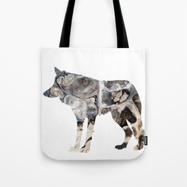 Gray Abstract Fluid Art Wolf Image Tote Bag
