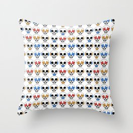 Cute Skulls No Evil II Pattern Throw Pillow