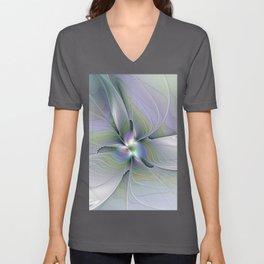 Rising Up, Abstract Fractal Art Unisex V-Neck